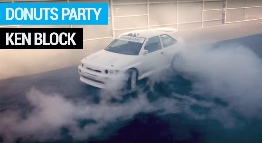 Donuts Party pour Ken Block et sa Ford Escort Cosworth WRC